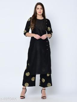 Women's Printed Black Art Silk Kurti