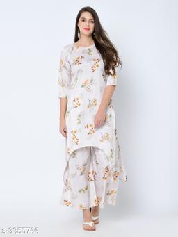 Women's Printed White Art Silk Kurti