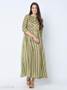 Women's Printed Art Silk Long Anarkali Kurti