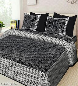 Beautiful Sanganeri Printed Cotton Double Bedsheet with two Pillow Covers