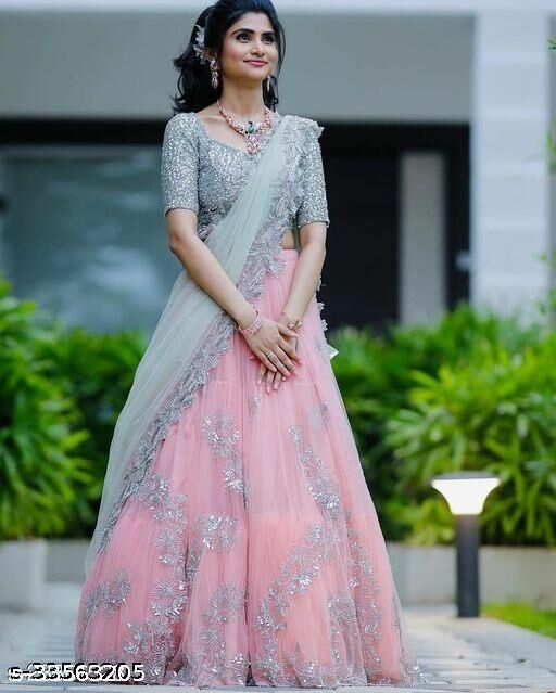 Grey Embroidered Attractive Party Wear Lehenga LC-197