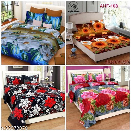 DB CREATIONS 4 INDIAN GLACE COTTON DOUBLE BED BEDSHEET 90*90