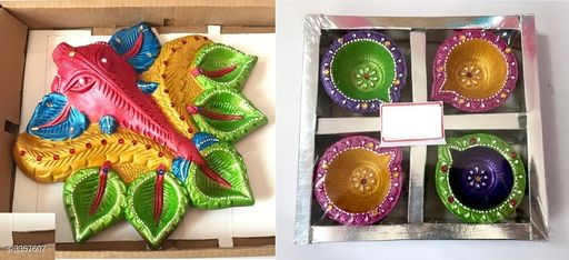 Festive Diyas & Candles Trendy Festive Diwali Diyas (Pack Of 2)  *Material* Diya 1 - Terracotta, Diya 2 - Terracotta & Wax  *Size (L X B X H)* Diya 1 - 7 in x 7 in, Diya 2 - 7.75 in x 7.75 in x 1.5 in  *Description* It Has 1 Piece Of Ganesh Diya With 4 Pieces Diyas Filled With Wax  *Sizes Available* Free Size *   Catalog Rating: ★3.7 (7)  Catalog Name: Dream Home Trendy Festive Diwali Diyas Vol 1 CatalogID_465162 C128-SC1604 Code: 172-3357607-