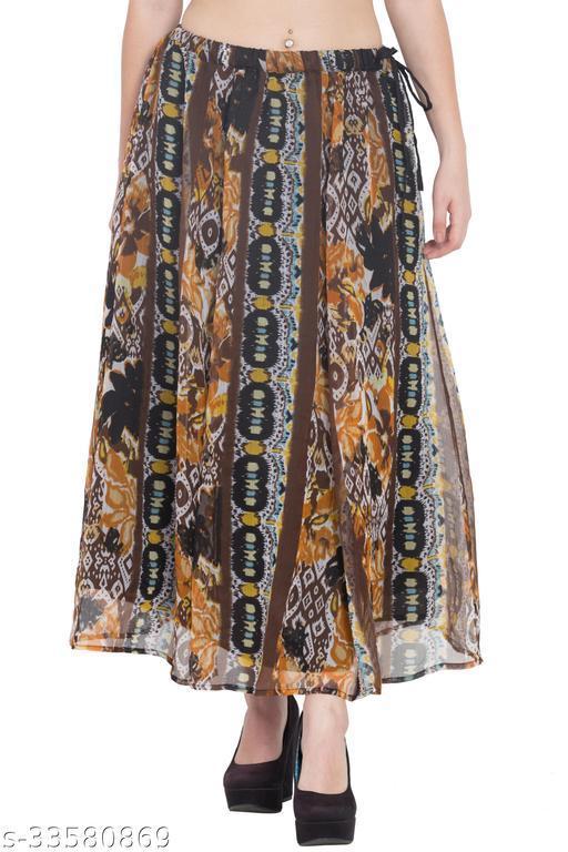 Hive91 Animal Printed Multicolor Long Skirt Made of Chiffon