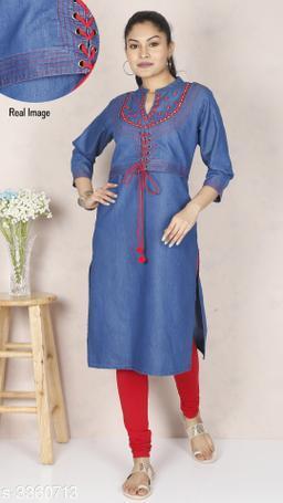 Women Embellished Denim Kurti