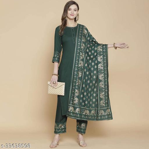 Indira Fashion Green Color Plain Kurti,trouser with Dupatta (KETUL-GREEN-001)