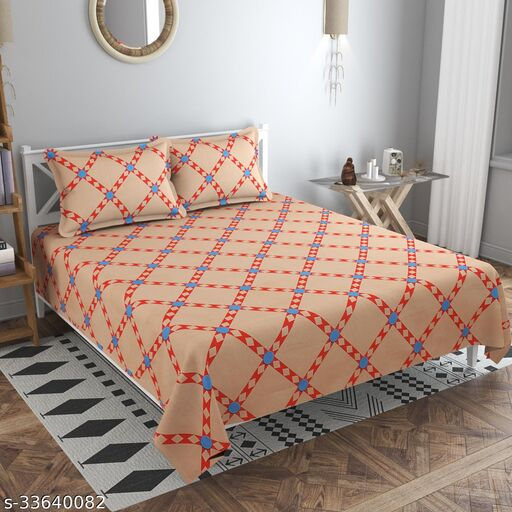 BALKO 220 TC Super Soft Glace cotton Double Bedsheet with 2 Matching Pillow Covers (Multicolour, 90 inches X 100 Inches)