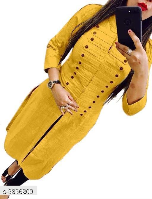 Women Cotton High- Slit Solid Yellow Kurti