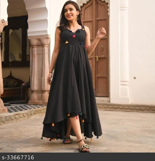 RAYON ATTRACTIVE PLAIN FLARED GOWN IN PREETY LOOK