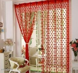 Fashionable Net Polyester Door Curtains ( Pack Of 2 )