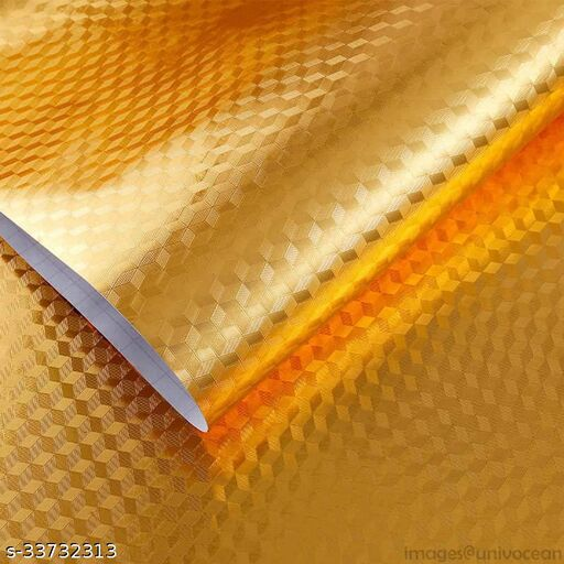 Amar Enterprise Fresh Kitchen Golden Oil Proof Waterproof Paper Aluminum Foil Backsplash Sticker Stove Cabinet Liner Decor Self Adhesive Wallpapers_ Meter