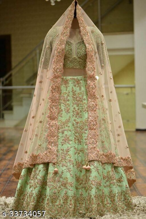 pista color partywear lehenga choli with embrodary work on malay sartin fabric LC 314
