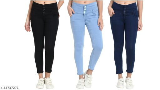 (Pack of 3) 5 Button, Women/Girls, Silky Denim 5-pocket high-rise jeans, Skinny Fit, clean look, has a button and zip closure, and waistband with belt loops