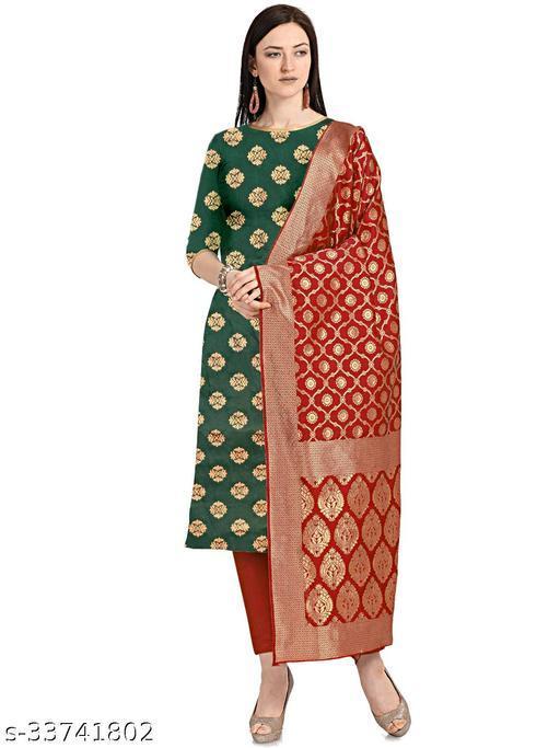 Women's Jacquard Green Colour Unstitched Dress Material