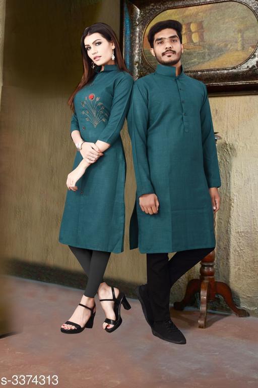 Trendy Designer Slub Cotton Couple Kurta Set