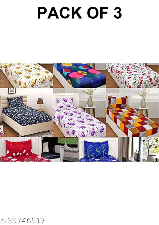 3D Polycotton Single Bedsheet Combo 3 bedsheets (WITHOUT PILLOW COVER)