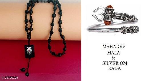 Shiv Shankar Mahakal Locket with Crystal Mala Onyx Crystal &  Style silver Om Kada Rhodium Alloy