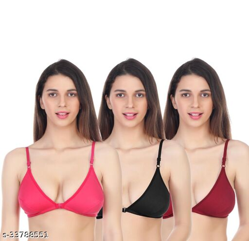 LIONET Women Cotton Non Padded Non-Wired Front Open Bra (Pack of 3, Size -30 to 40)