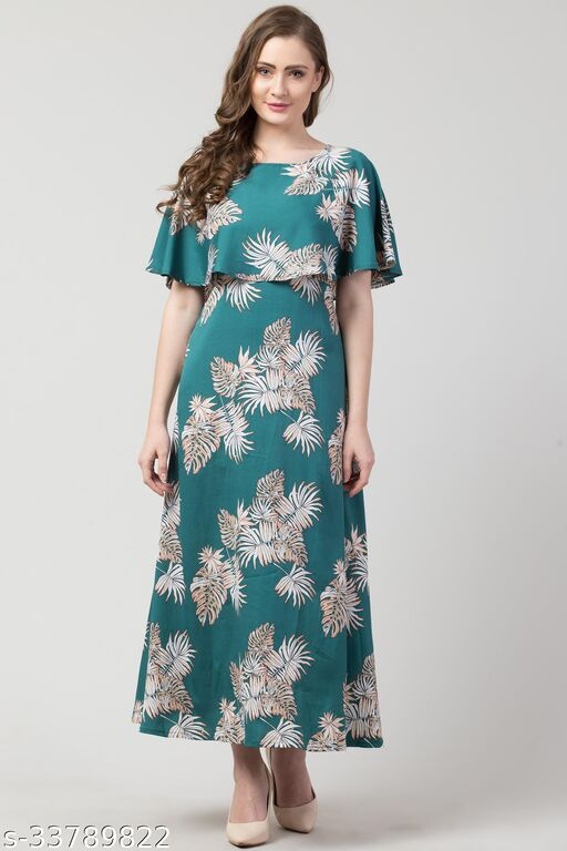 Hive91 Floral Printed Green Gown Dress for Women, Made of American Crepe Fabric