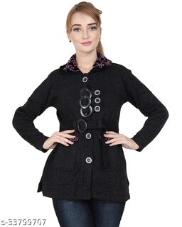 Women's Neck Embroidered Button Cardigan with Pockets and belt