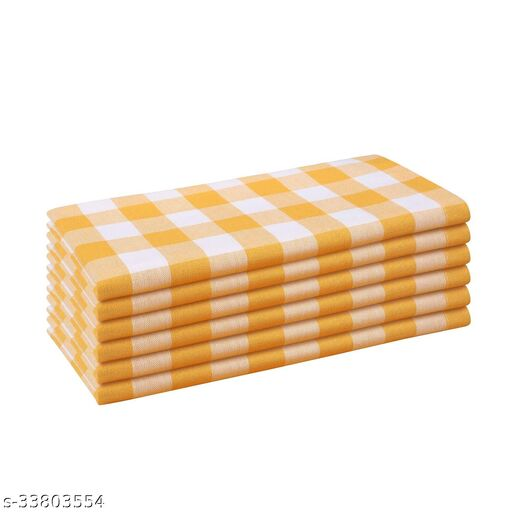 Shades of life Checkered Cotton Kitchen Table Napkins (Yellow, Set of 6)
