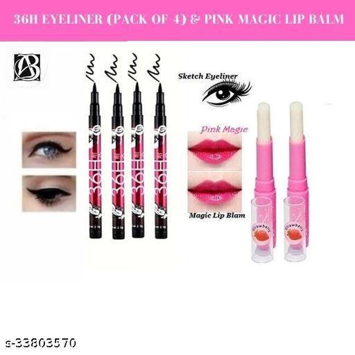 36h black waterproof eyeliner  pack of  4+pink magic lip balm  pack of 2
