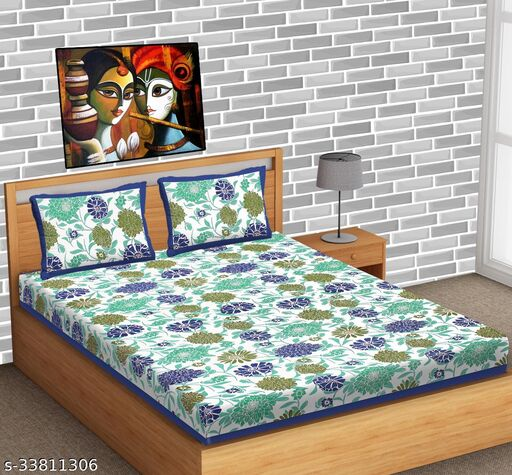 Attractive Trendy soft cotton 90/100 jaipuri printed 180 TC Superfine double bed sheet with 2 pillow covers