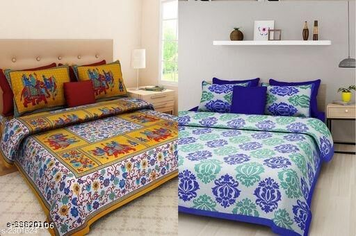 Stylish trendy cotton jaipuri printed 90/100 Double queen size Bed sheets with pillow covers(Combo)