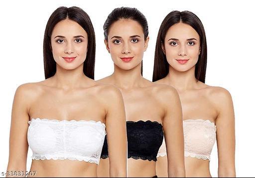 Women Tube Lightly Padded Bra(Black, White & Skin) Pack of 3