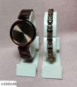 Classic Women Watch & Chain Combo