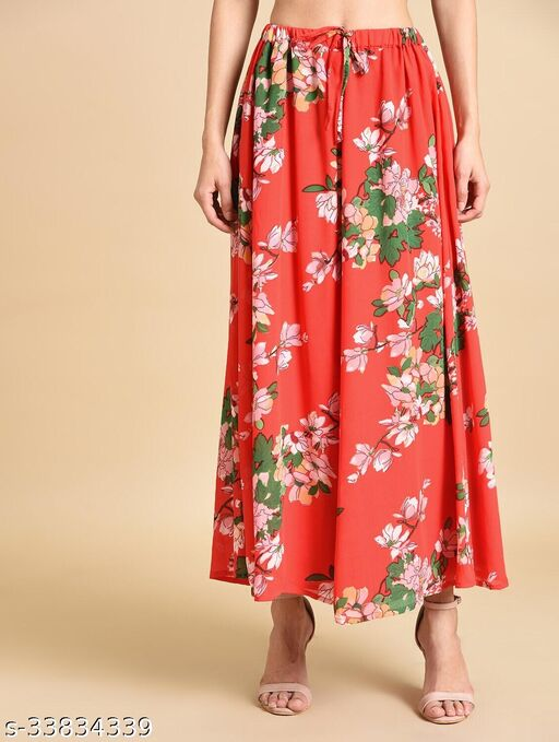 Inuka  Red Floral Long Skirt for Women