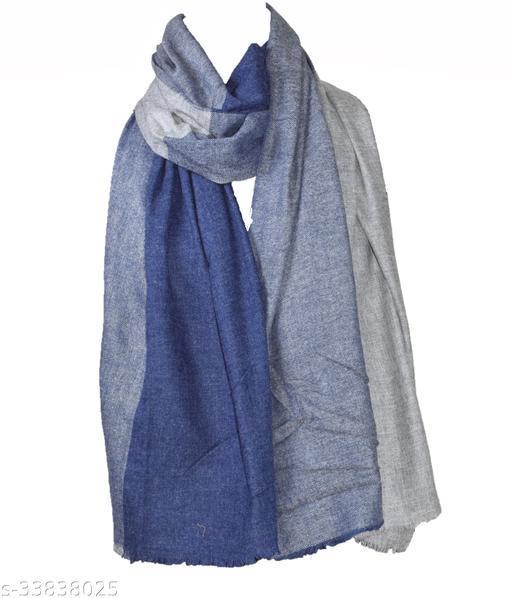 Designer Stylish Blue Grey Reversible Woolen Woven Stole/ Wrap/Muffler for Women