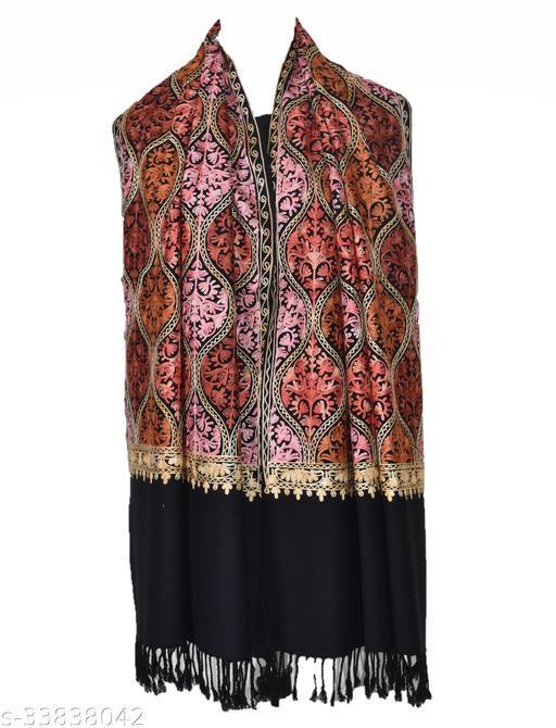 Fancy Stylish Women's Pure Cahmilon Wool Black  Matka Design Stole/ Shawl For Winters