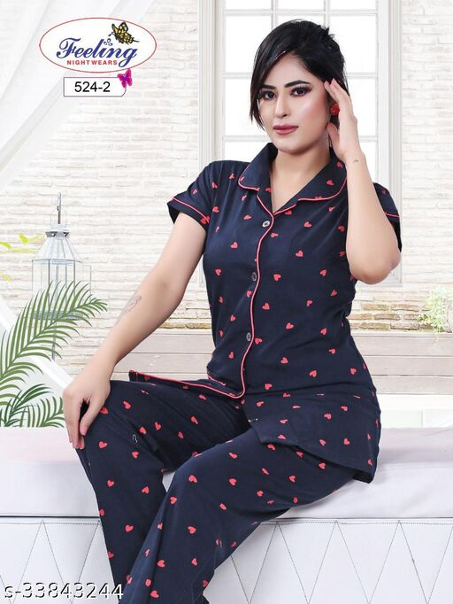 Heart Printed Front Open Night Suits