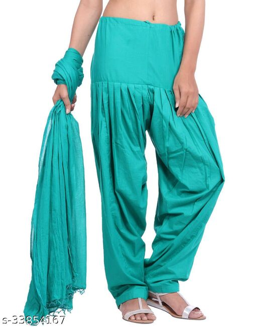Trendy Cotton Blend Patiala's with Dupatta
