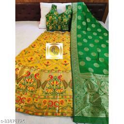 GolDoll Fab® Banarasi Silk Semi Stitched Lehenga Choli.