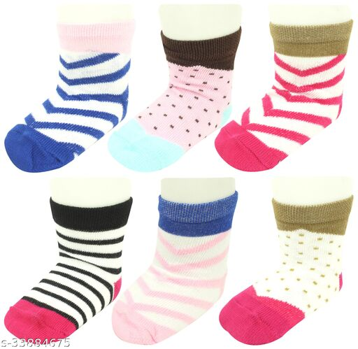 Neska Moda Baby Girls 6 Pair Multicolor Striped Ankle Length Socks For Age 1 - 3 Years-SK673