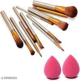 Premium Quality Naked Makeup Brush Set 2 Sponge Puff Kit Combo