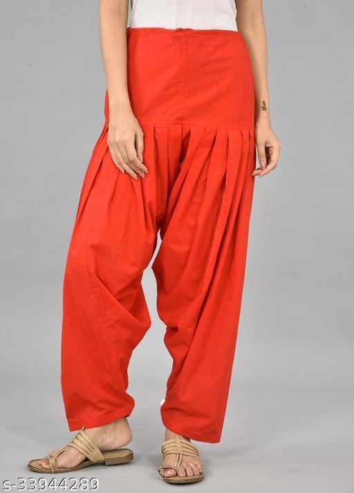 Women's Cotton Red Solid Salwar
