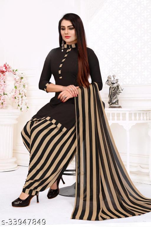 Fab Kudi Women's Black Color Crepe Printed Unstitched Salwar Suit