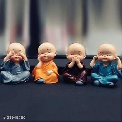 Decor India Hub Set of 4 Monk Miniature Buddha Figurines Showpiece for Home, Office Decoration Decorative Showpiece  -  5 cm (Polyresin, Multicolor)
