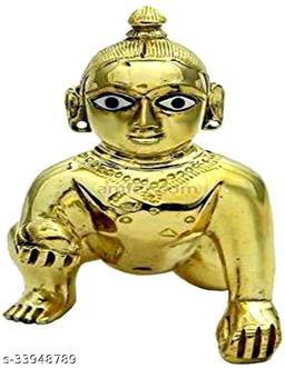 LADDOO Gopal/THAKURJI MURTI Idol/BAL Gopal/Heavy PEETAL MURTI/NO.2 Decorative Showpiece - 9 cm  (Brass, Gold)  Posak Free..