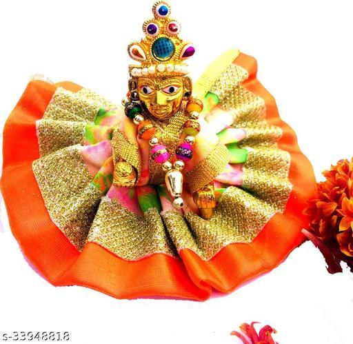 1 NO SIZE Pittal Laddu Gopal Statue Pital Brass Murti Kanha ji with pushak   (Brass, Multicolor) 12