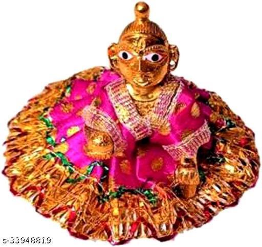 1 NO SIZE Pittal Laddu Gopal Statue Pital Brass Murti Kanha ji with pushak   (Brass, Multicolor)