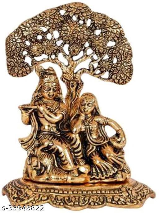 Radha Krishna Sitting Under Tree Idol Metal Statue Decorative Showpiece - 22 cm  (Metal, Gold)