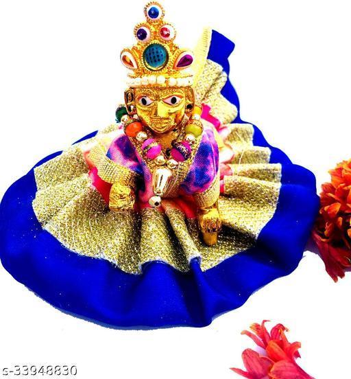 1 NO SIZE Pittal Laddu Gopal Statue Pital Brass Murti Kanha ji with pushak   (Brass, Multicolor) 28