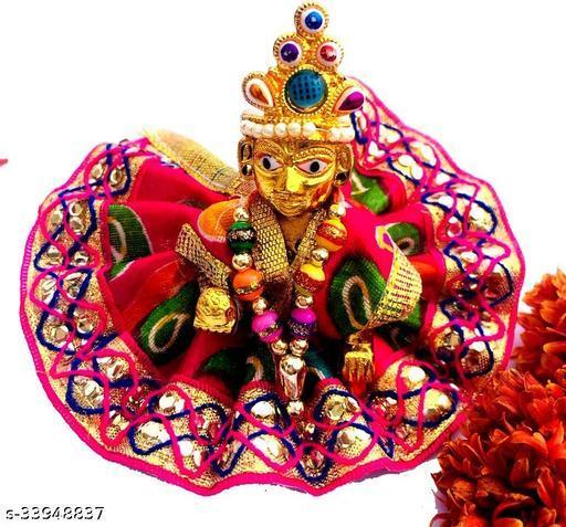 1 NO SIZE Pittal Laddu Gopal Statue Pital Brass Murti Kanha ji with pushak   (Brass, Multicolor) 32