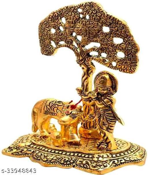 Metal Krishna with Cow Standing Under Tree Playing Flute / Krishna Murti / Krishna Cow Idol / Krishna Showpiece / God Idols / Brass Finish Showpiece Decorative Showpiece - 17 cm  (Metal, Gold)