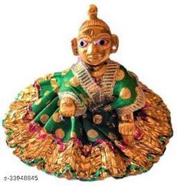 1 NO SIZE Pittal Laddu Gopal Statue Pital Brass Murti Kanha ji with pushak   (Brass, Multicolor) 3