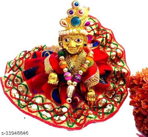 1 NO SIZE Pittal Laddu Gopal Statue Pital Brass Murti Kanha ji with pushak   (Brass, Multicolor) 1